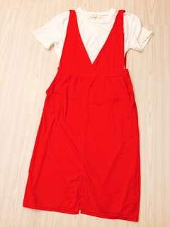 🚚 修長 兩件式 洋裝 連身裙 吊帶裙 T恤 上衣 開衩 V字 口袋 紅 白
