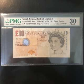 2000 Great Britain 🇬🇧 £10 Pounds Paper , QEII Low Number KH75 000003 , Serial Number 3,  PMG 30