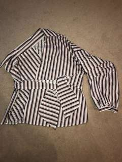 Asymmetric striped shirt with tie, size small