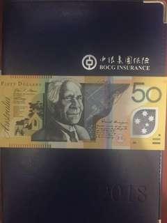 Australia $50 gem unc 澳洲$50塑膠鈔票,頂級直版