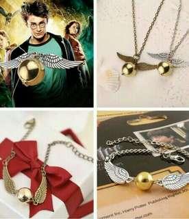 Harry Potter Flying Ball Gold Necklace / Silver Bracelet