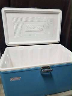Vintage blue metal Coleman cooler