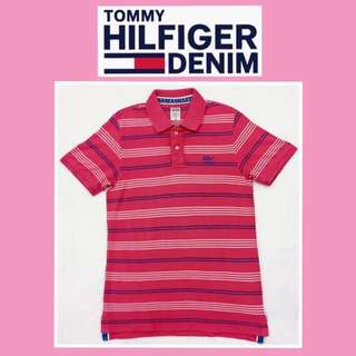 🚹《TOMMY HILFIGER DENIM》二手 桃紅條紋 短袖polo衫