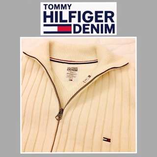 🚹《TOMMY HILFIGER DENIM》二手 淺米白色 立領長袖毛衣外套