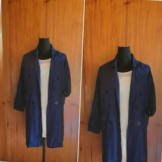 DARK BLUE LONG TRENCH COAT (34 inches)