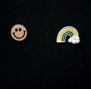粉紅哈哈笑 彩虹耳環