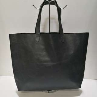Non-branded Large Dark Blue Leather Tote Bag