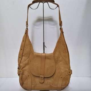 Lane Crawford Full-Grain Mocha Brown Leather Large Crossbody/Shoulder Bag
