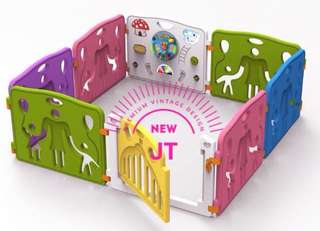 8 Pcs Baby Fence Playpen with Toys Safety Gate with Lights & Sounds