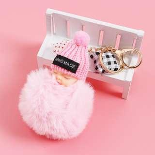 Cute Sleeping Baby Pendant Key Chain Plush Doll Keychain Car Keyring Toy