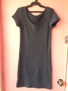 Knitted dark gray dress