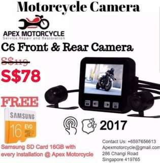 Motorcycle Front and Rear Recording Cameras Vsys C6 Motorcycle Front & Rear Camera For Motorcycles Suitable For All Motorcycles Bikes Latest Version