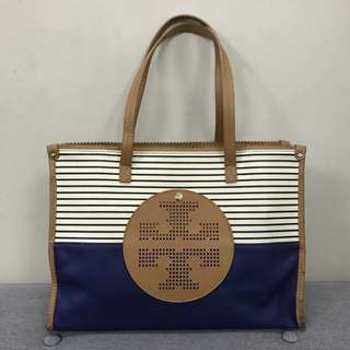 Authentic Tory Burch Viva Mini Tote Navy Stripe Canvas
