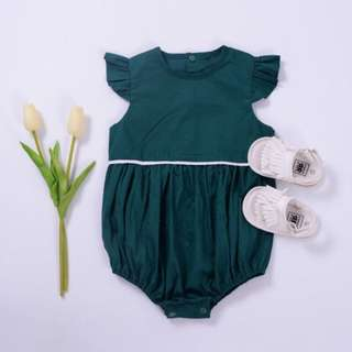 👶🏻 Baby Girl Green Ruffled Summer Romper  6-12mos