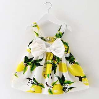 👶🏻 Baby Girl Lemon Bow Dress 9-18mos 🍋