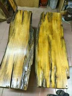 台灣黃檜大厚重長椅共兩件~~便宜出清
