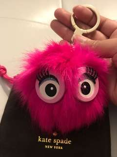 Brand New Kate Spade Monster Pouf Key Chain Bag Purse Charm