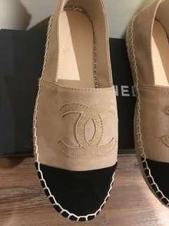 CHANEL suede espadrilles (genuine leather) + box