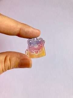 kawaii rainbow bear plastic charm