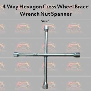 4-Way Hexagon Cross Wheel Brace Wrench Nut Spanner