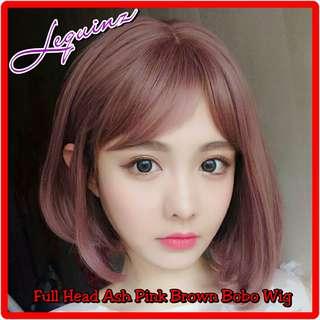 Full Head Bobo Hair Wig Short Ash Pink Brown