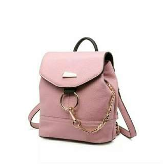 Ransel bags pink   (Ransel bag ring chain gold 26x22x11 leather pu)