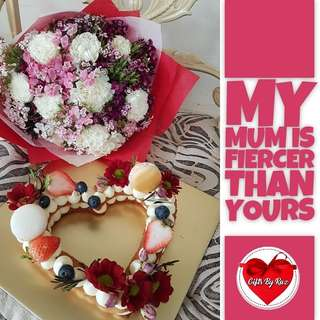 Mother's Day Fresh Flower Bouquet with Heart Shaped Tart