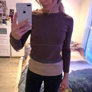 Beige/Brown Cotton Silk Sweater