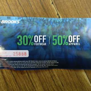 Brooks Voucher (50% off) (expired on 31 may 2018)