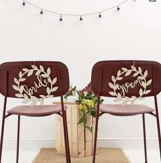 清新座椅掛飾1 set。 Wedding chair sign 1 set