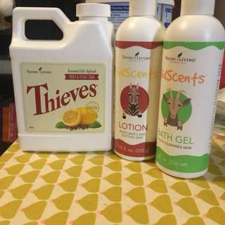 Young Living Babyscents bath gel and lotion + thieves fruit & Veggie Soak