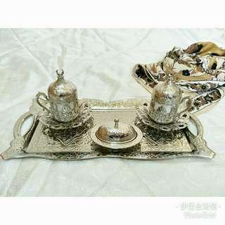 土耳其【傳統鬱金香花紋咖啡杯組】(銀)