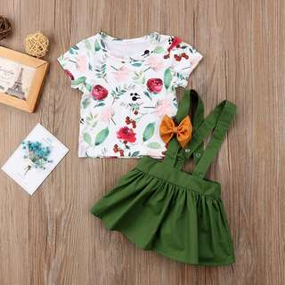 Instock - 2pc green floral suspender set, baby infant toddler girl children sweet kid happy abcdefgh so pretty
