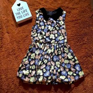 Collar Flowery Dress