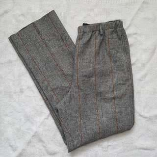 High Waist Plaid Tweed Pants