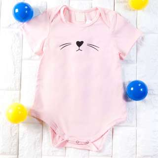 Instock - 2pc pink whiskers romper, baby infant toddler girl children sweet kid happy abcdefgh so pretty