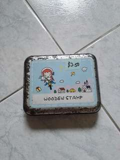 Girl wooden stamps travel