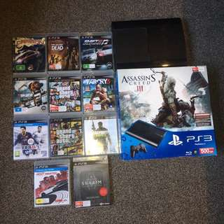PS3 Super Slim 500gb + 3 controllers + games + charging station ETC!!!