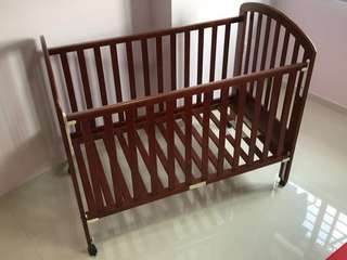 4 Height Wooden Baby Cot (FREE Allen Key)