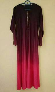 Purple to pink ombre jubah