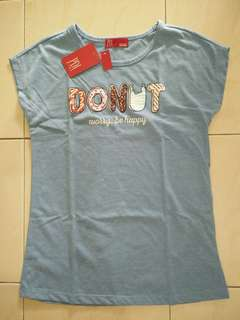 PDI Kids Girls Short Sleeves Tee Light Blue 10-11Years