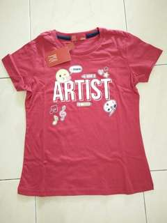 PDI Kids Girls Short Sleeves Tee Red 8-9Years