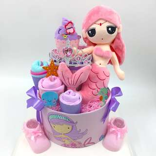 Large 2-tier Mermaid Diaper Cake (Box size - Ht43x 34x34cm)