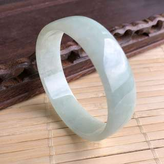50.8mm A-Grade Type A Natural Mint Green Jadeite Jade Modern Round Bangle No.151457