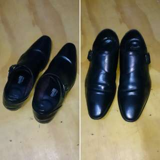 Clarks Mans Bampton Work Black Leather Shoes