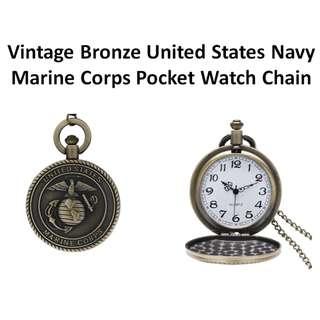 Vintage Bronze United States Navy Marine Corps Pocket Watch