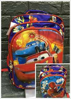 Cartoon backpack 2design for Boys good quality 12inches.    P 385 16inches.    P 395