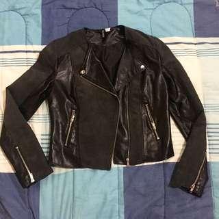 H&m leather velvet jacket