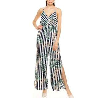 Tropical inspired Jumpsuit with slit