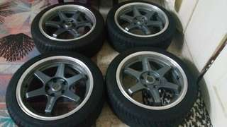 For sale. Te37 tokyo time attack. 215 45 17 rim and tyre